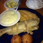 1 whole catfish 1 fillet grits and slaw
