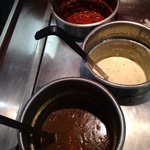 Three types of soup yes, but clearly had been there for quite some time, skinned over.....