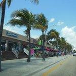 Shops and restaurants along the beach walk
