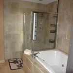 Suite 401: Bathroom with fancy shower sprays and jet tub