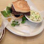 Senior citizen's hamburger with delicious Cole slaw.