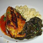 Blackened Catfish, greens and mac-n-cheese were delicious