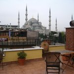 View of Blue Mosque from rooftop terrace