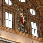 Stained class over cathedral portion