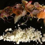 Pollo e polvere d'olivo al rosmarino con germogli