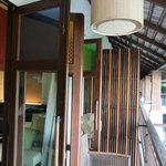 balcony with door open