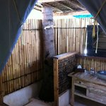 shower under coconut tree (no hot water)