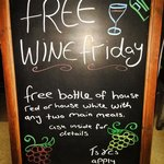 Free bottle of wine on Friday with two main meals