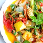 Stir fried squid with salted egg