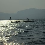 Fishermen at work at Inle Lake in late afternoon.