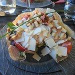 Caesar salad with a cool crispy bread bowl