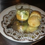 starter on Christmas eve - colourful paprika mousse with home made olive bread