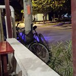 our bicycles outside restaurant