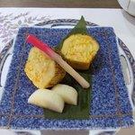 夕食(焼物:鰆ケンチン焼、長芋酢漬、初神)