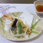 夕食(油物:海老変わり揚げ、茄子、青唐、さつま芋)