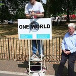 """One world"" speaker supporting a world government"