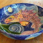 A handpainted fruit bowl by local artist Elisabeth Jansen