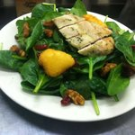 Our New Spinach Salad with Cranberries, Candied Walnuts, and Fried Goat Cheese