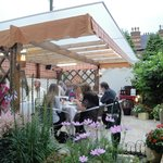 Outdoor garden and seating area