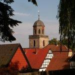 Blick vom Schloß auf den Kirchturm