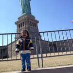 Aarav at Statue of Liberty