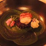 Monkfish in pancetta with black risotto, beetroot mousse, yuzu mousse and spinach puree