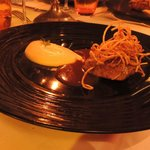 Lamb with a celeriac puree and jus, crispy shoestring potatoes