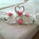 Detalle maravilloso de cisnes realizados con toallas y flores