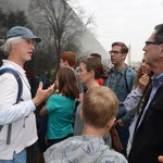 Tim sharing info at the Vietnam Memorial