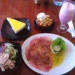 Tuna carpaccio, small salad, banana crumble, lemon cheesecake, strawberry milkshake for $25