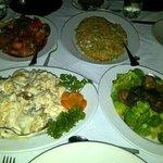 Tiki fried rice, Broccoli and mushrooms, Hawaiian chicken, and Walnut shrimp