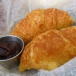 Flaky croissants the came with lobster salad