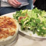 Bubbly onion soup and ceasar salad