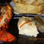 Lobster, filet, and mashed potatoes