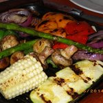 Grilled veggies (zucchini, corn, peppers, asparagus, onions, 'shrooms