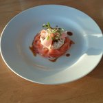 Oak smoked salmon, crab meat and ponzu reduction.
