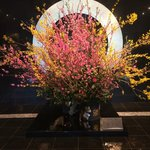 Floral display at entrance of Hotel New Otani