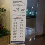 KAL Bus schedule in Lobby