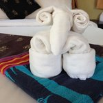 Nice touch, sheep towels on bed