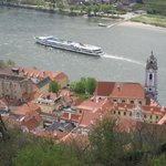 Danube river with cruise boat