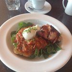 my to die for breakfast of slow braised tomatoes with basil.