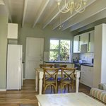Open plan lounge and kitchen area of family cottages
