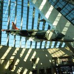 Airplane hanging in main gallery