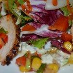Blackened Cajun Chicken salad with Tzatziki dressing & sweetcorn salsa