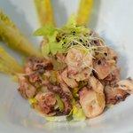 Salade de Poulpe au céleri, sucrine au vinaigre de tomate