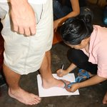 Having our feet measured