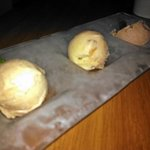 Dessert, homemade trio of milk chocolate, apple pie, and pecan cinnamon ice cream