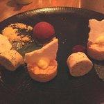 Dessert, Raspberry Ginger Sorbet, Citrus Curd Cake and Panna Cotta rounds