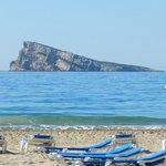 the nearest part of the beach with Benidorm Island
