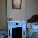 The mantle & fireplace in the kids' room (Wyatt Earp room)